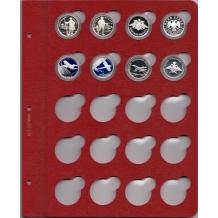 Листы для монет в капсулах (красные) 31мм